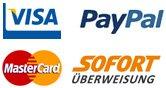 Zahlungsarten: Visa, PayPal, MasterCard, Maestro
